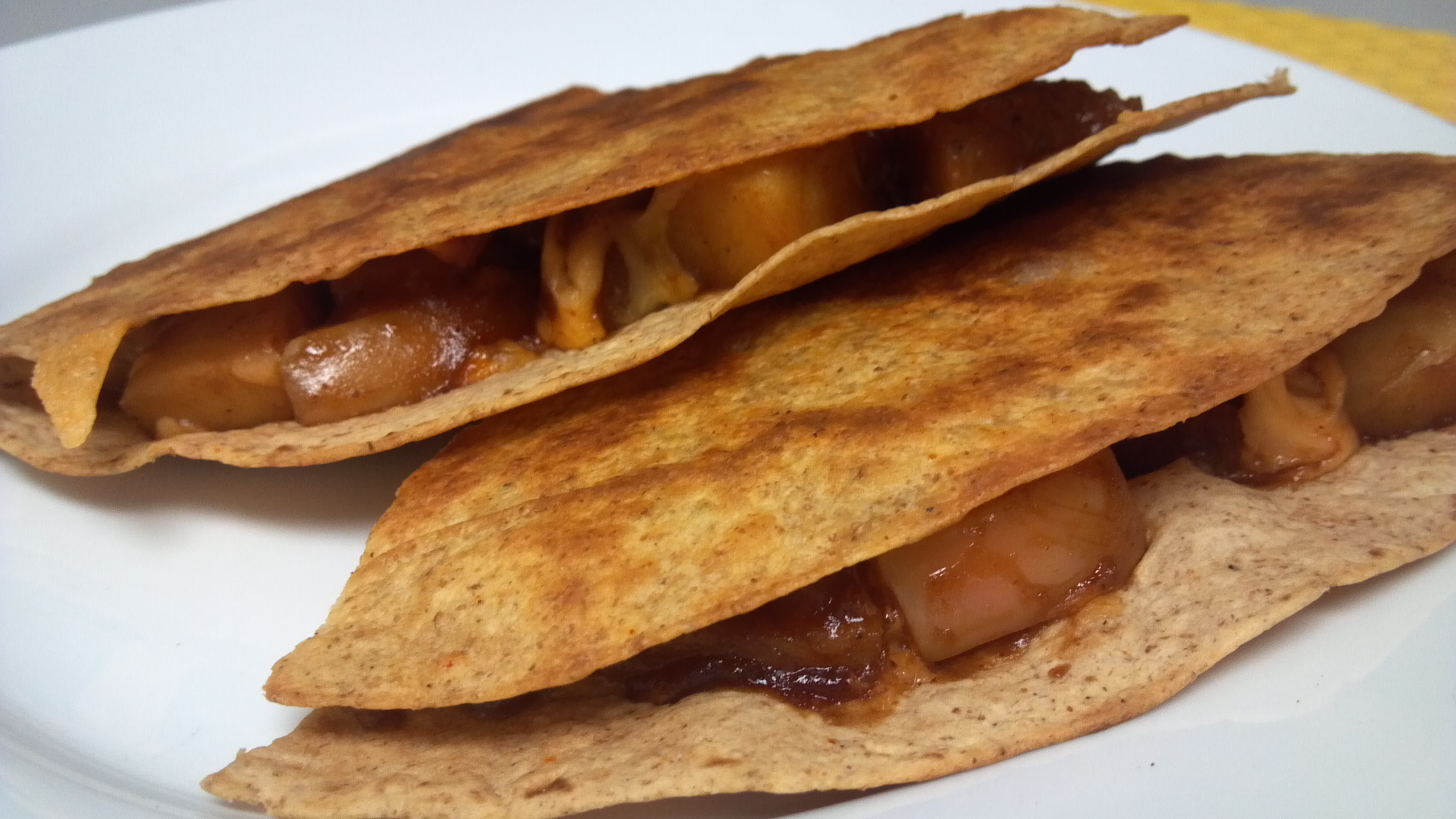 "BBQ ""Sausage"" and Apple Quesadillas 