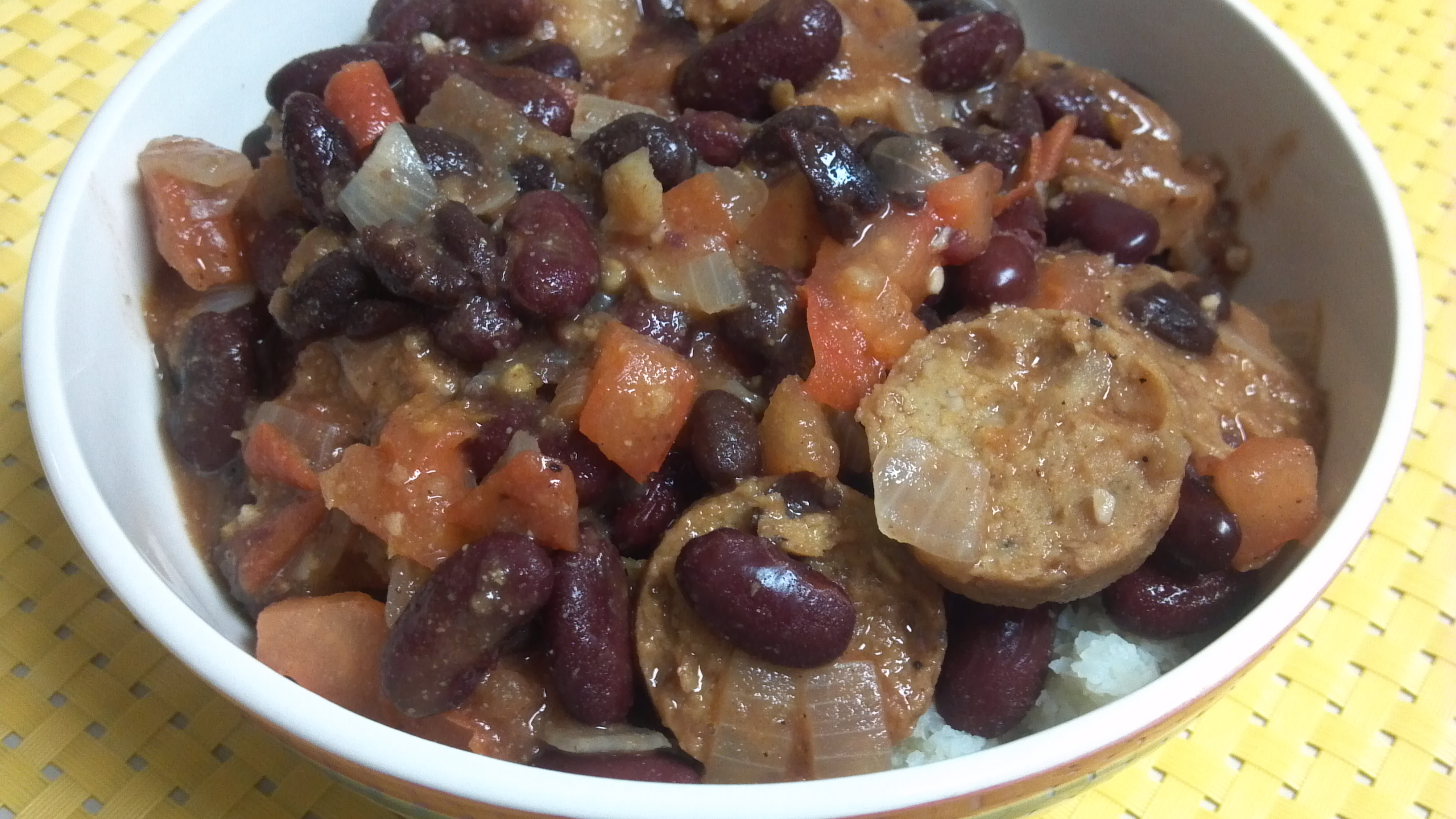 "served my Vegan Bean and Sausage Cassoulet over cauliflower ""rice ..."